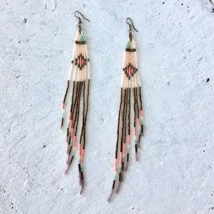 Hand Beaded Tribal Dangle Earrings